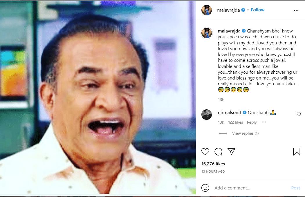 Ghanshyam Nayak, Nattu Kaka of Taarak Mehta Ka Ooltah Chasmah, Passes Away