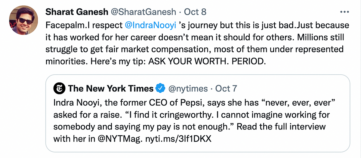 """Indra Nooyi Says Asking for a Raise Is """"Cringeworthy"""", Twitter Disagrees"""