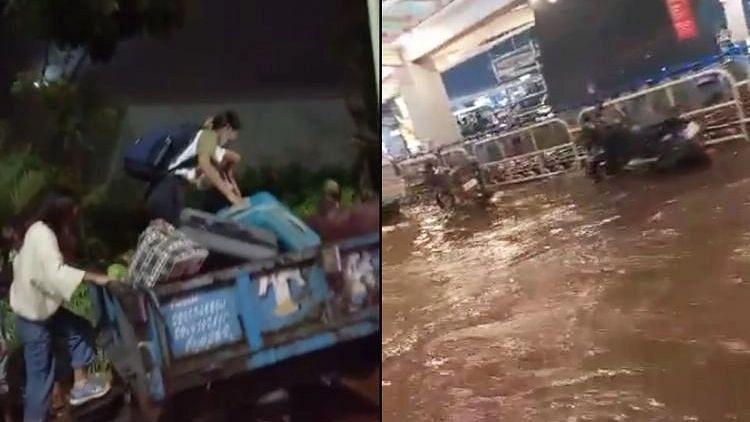 Heavy Rains Flood Bengaluru Airport, Passengers Use Tractor to Reach Airport