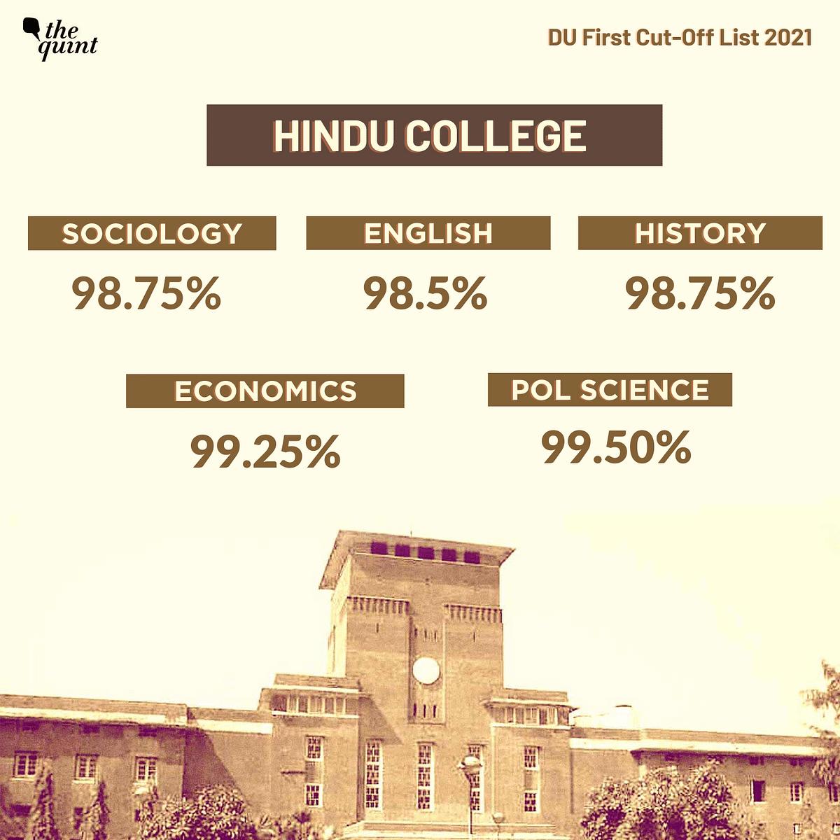 "<div class=""paragraphs""><p>First cut-off list: Hindu College</p></div>"