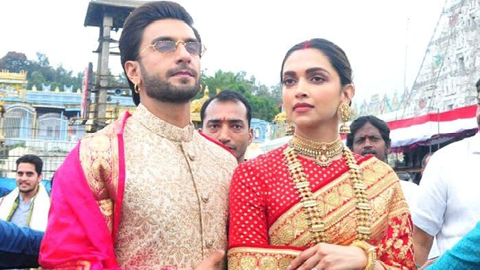 """<div class=""""paragraphs""""><p>Deepika Padukone and Ranveer Singh during their first anniversary celebrations.</p></div>"""