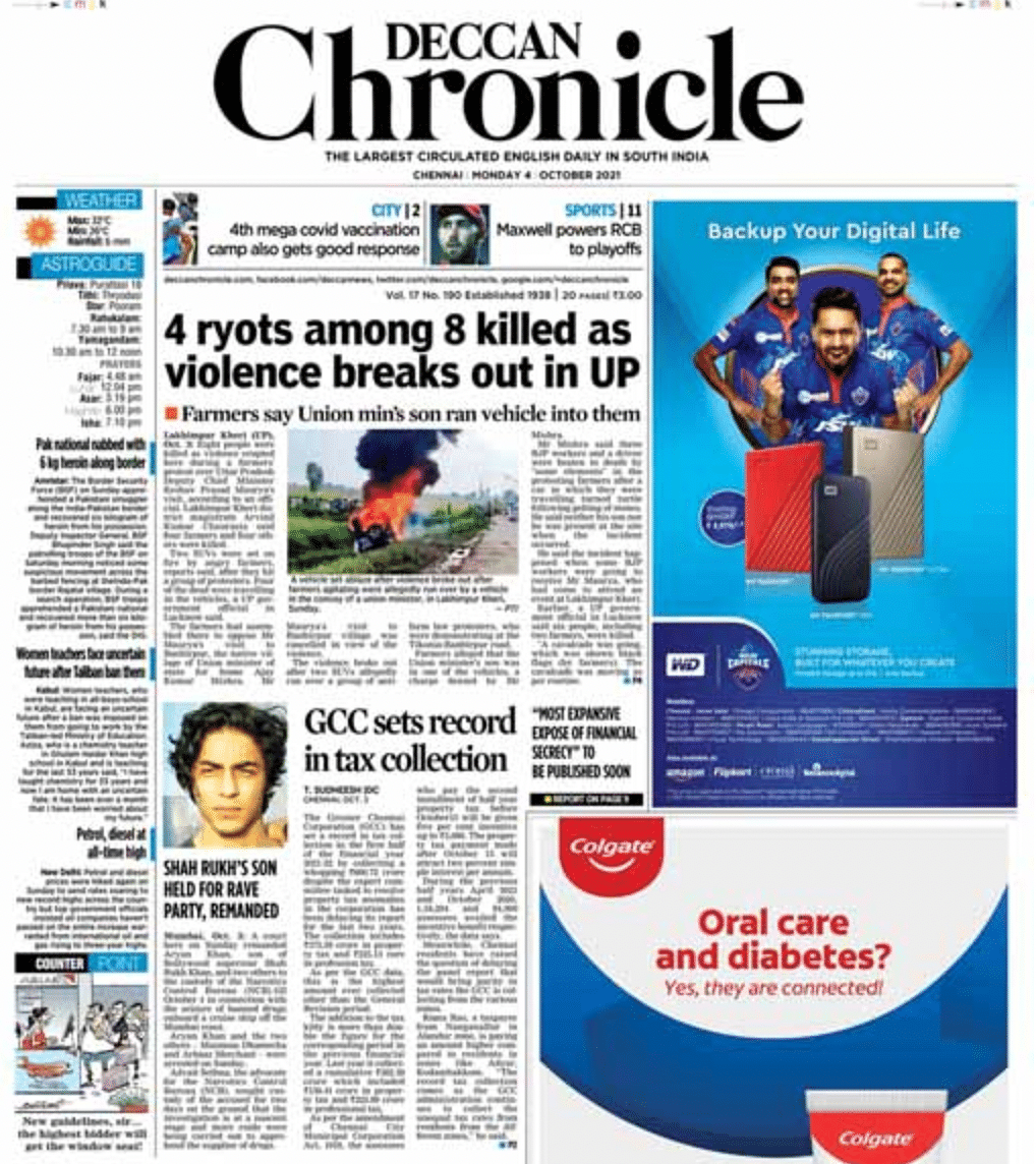Farmers' Death in UP & Aryan Khan's Arrest: How Leading Dailies Covered the News