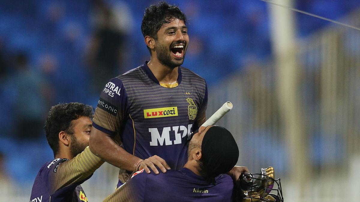 "<div class=""paragraphs""><p>Rahul Tripathi celebrates after hitting the winning runs&nbsp;</p></div>"
