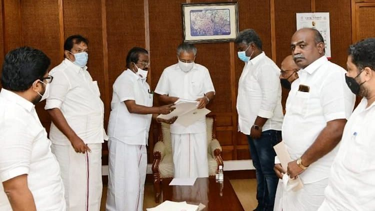 """<div class=""""paragraphs""""><p>Elangovan gave a copy of a letter written by Tamil Nadu Chief Minister MK Stalin to Pinarayi Vijayan seeking Kerala's support to oppose the test.</p></div>"""