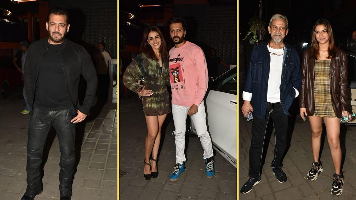 "<div class=""paragraphs""><p>Salman Khan, Genelia &amp; Riteish Deshmukh, Mahesh Manjrekar and his daughter Saiee at Aayush Sharma's birthday party.</p></div>"