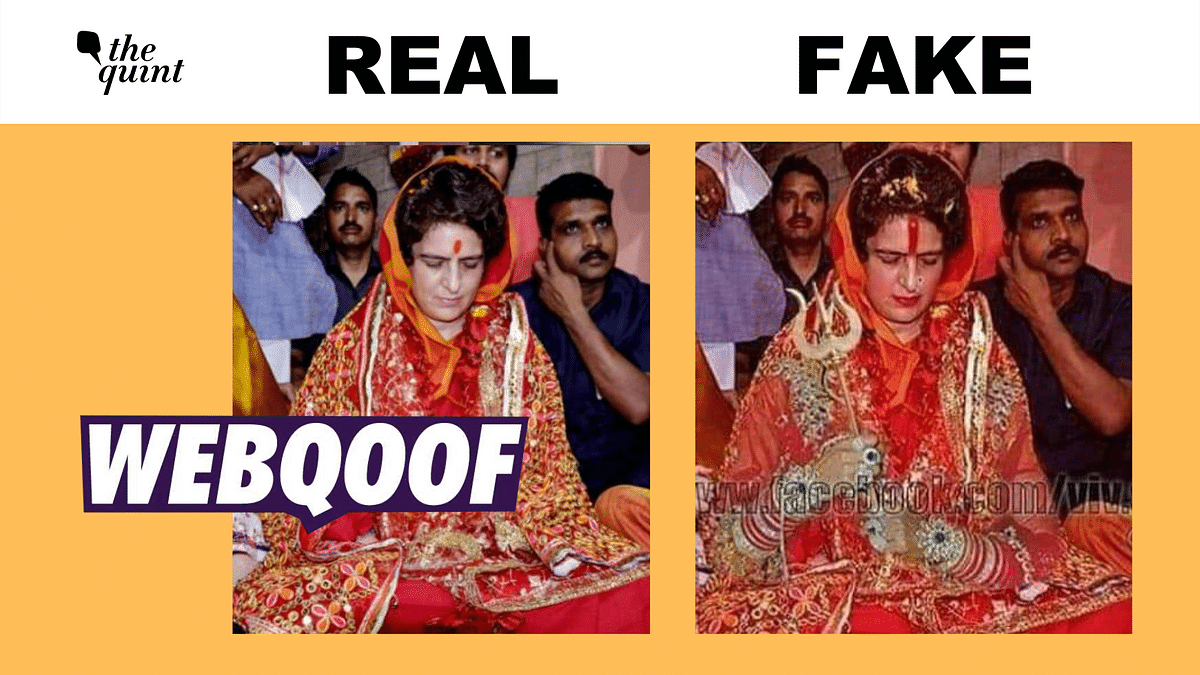 That's Not a Real Image of Priyanka Gandhi's Temple Visit, It's Altered!