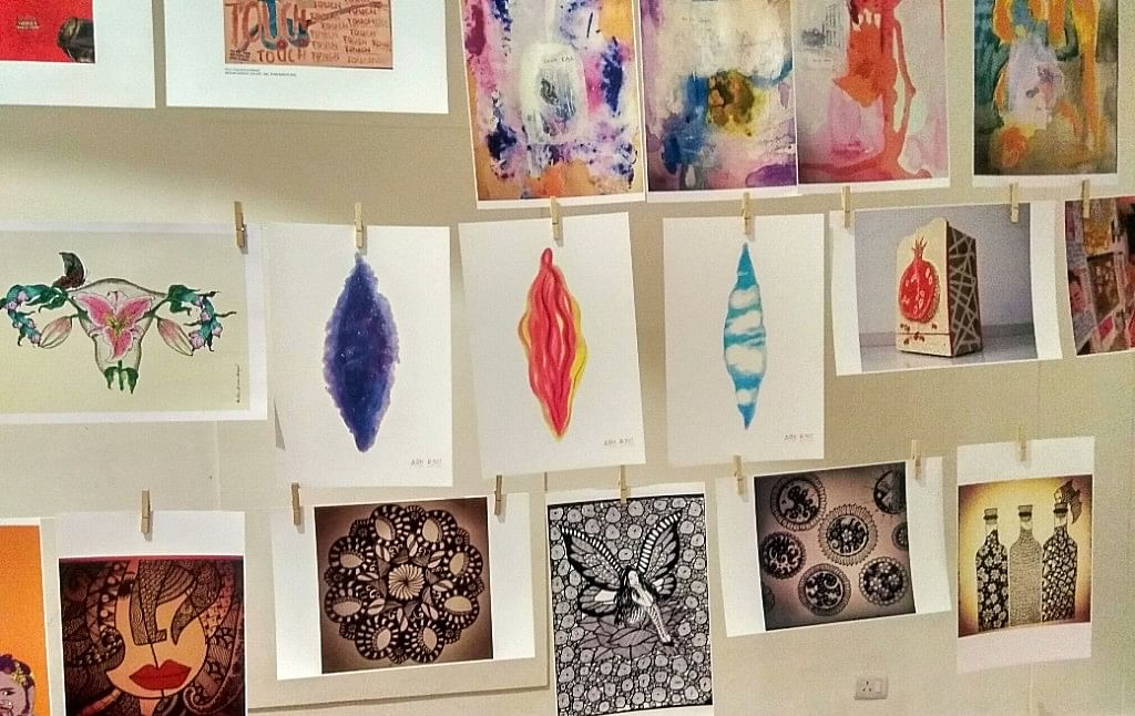 Artists' work on women's health displayed at the event.