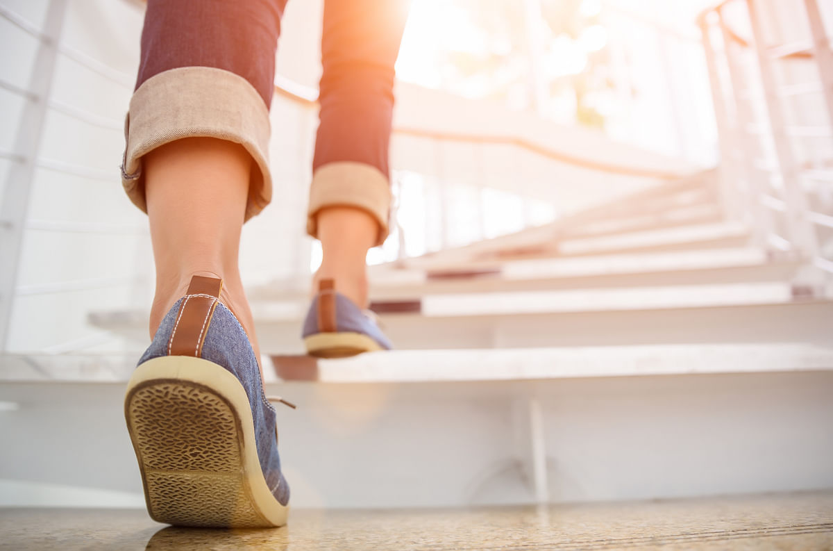 Climbing stairs provides good exercise.