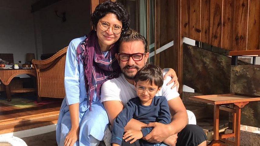 Aamir Khan with his wife Kiran Rao and kid.