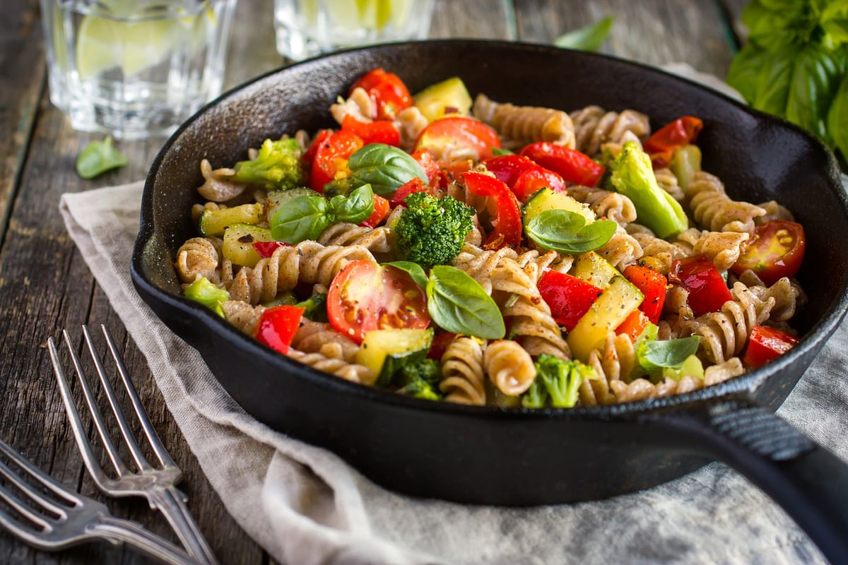 Whole wheat pasta with vegetables.