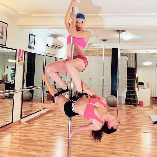Vesna Jacob and Tania Sudan are Delhi-based pole fitness trainers.