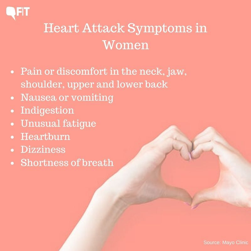 Heart attack symptoms in women may not be the same as in men.