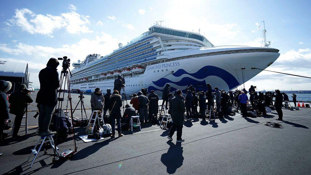 The cruise ship Diamond Princess is anchored at Yokohama Port.