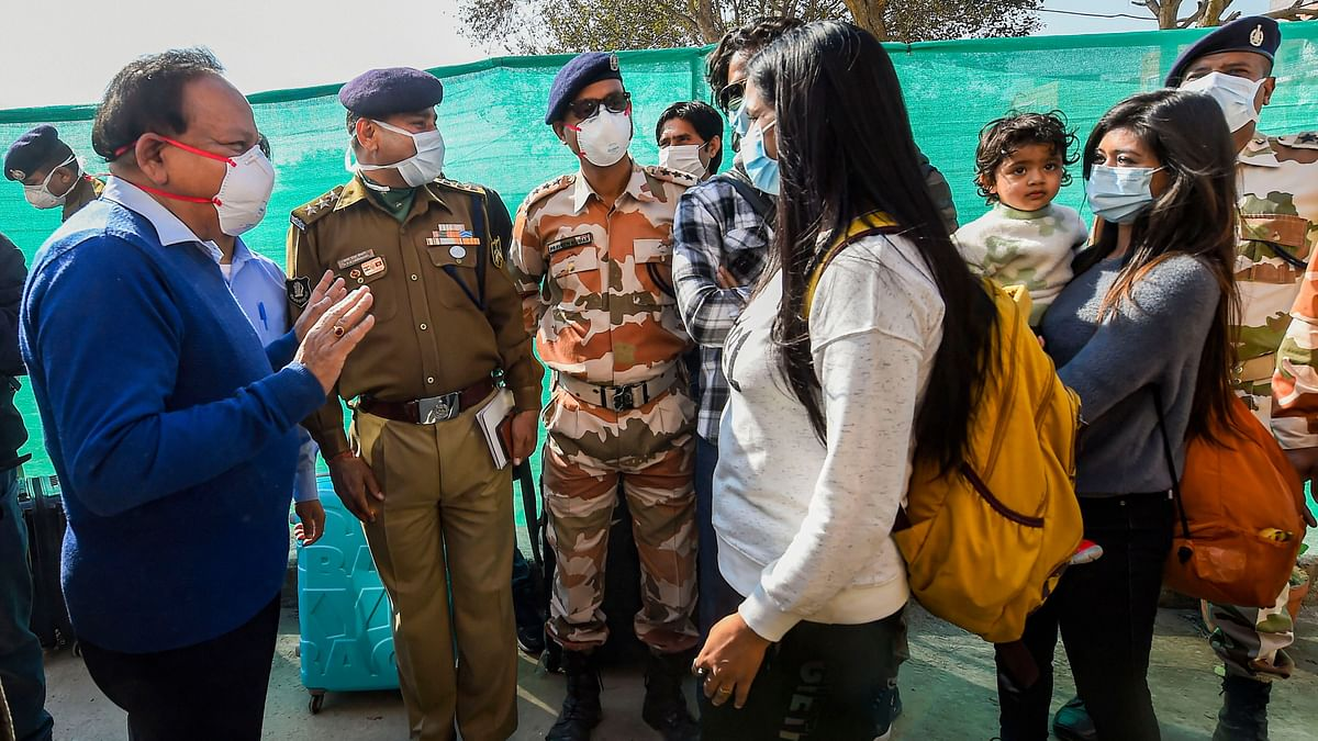 Union Health Minister Harsh Vardhan interacts with Wuhan-returned Indians after they were released from the ITBP quarantine facility at Chhawla, New Delhi, Monday, Feb. 17, 2020.