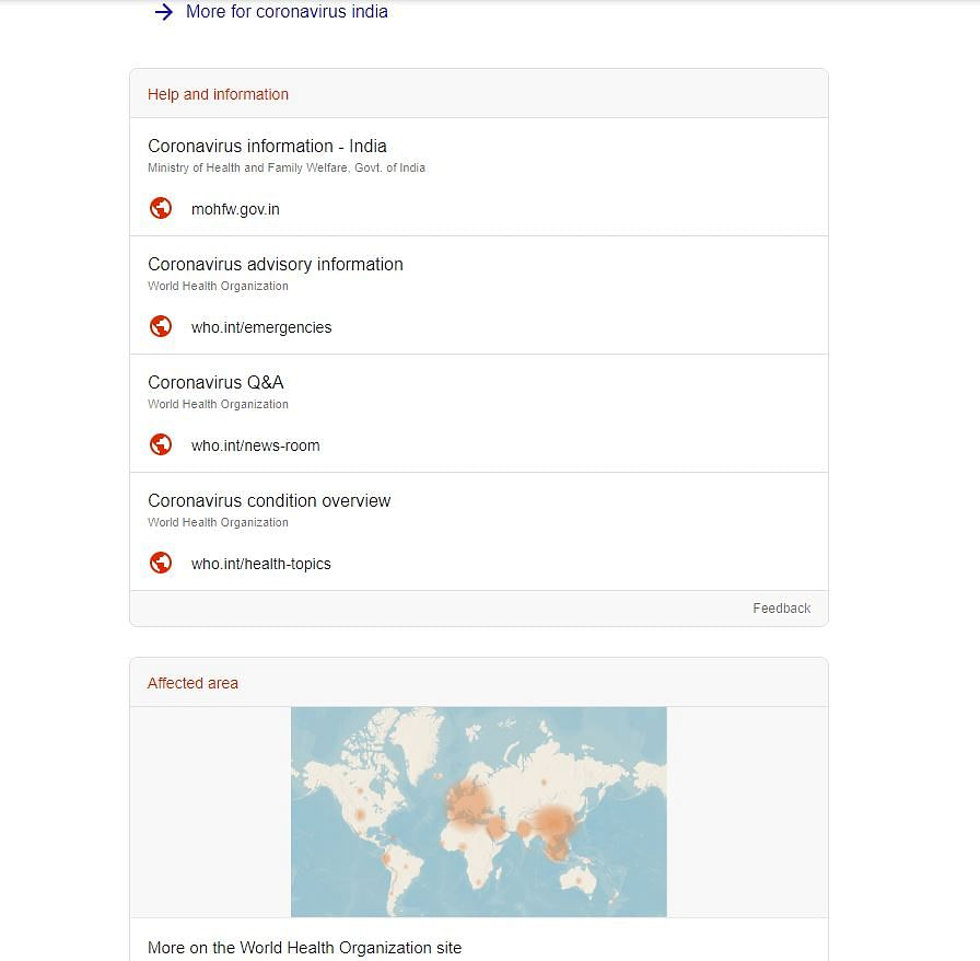 Google Issues Coronavirus SOS and Helplines