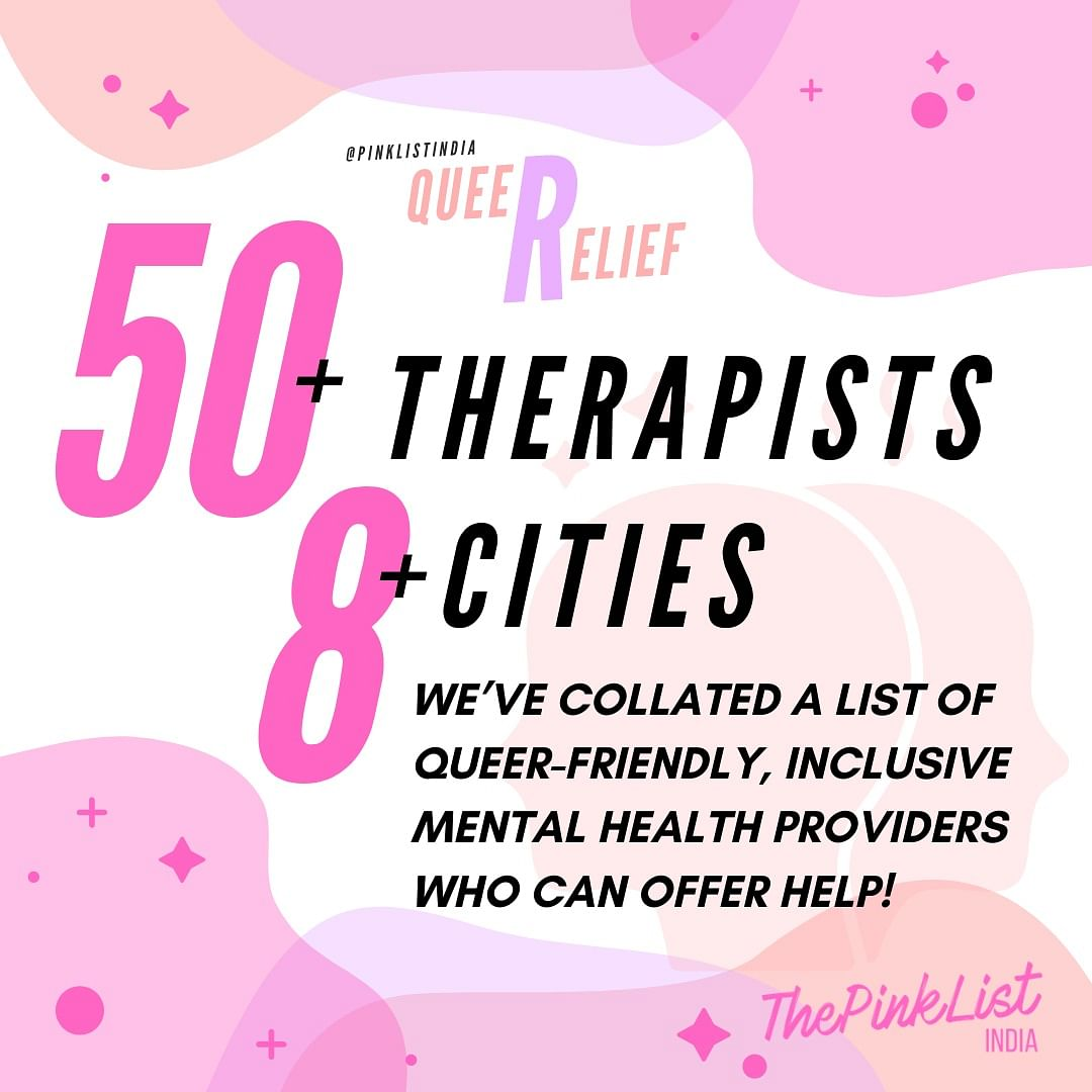 The list includes over 50 therapists and peer counsellors from across India who can provide crisis relief during the COVID-19 pandemic for everyone.
