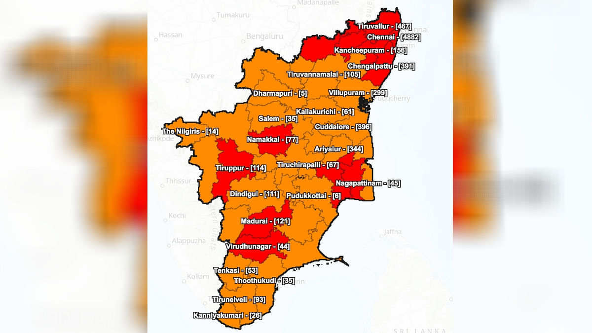 District wise details of COVID-19 positive cases in Tamil Nadu as on 12 May.