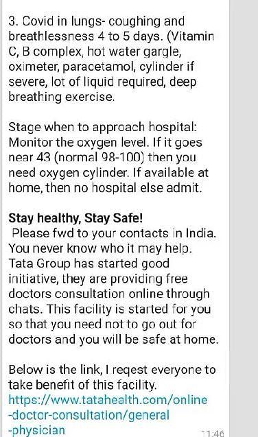 FIT WebQoof: No, Tata Health Didn't Share 'COVID Medical Kit' List