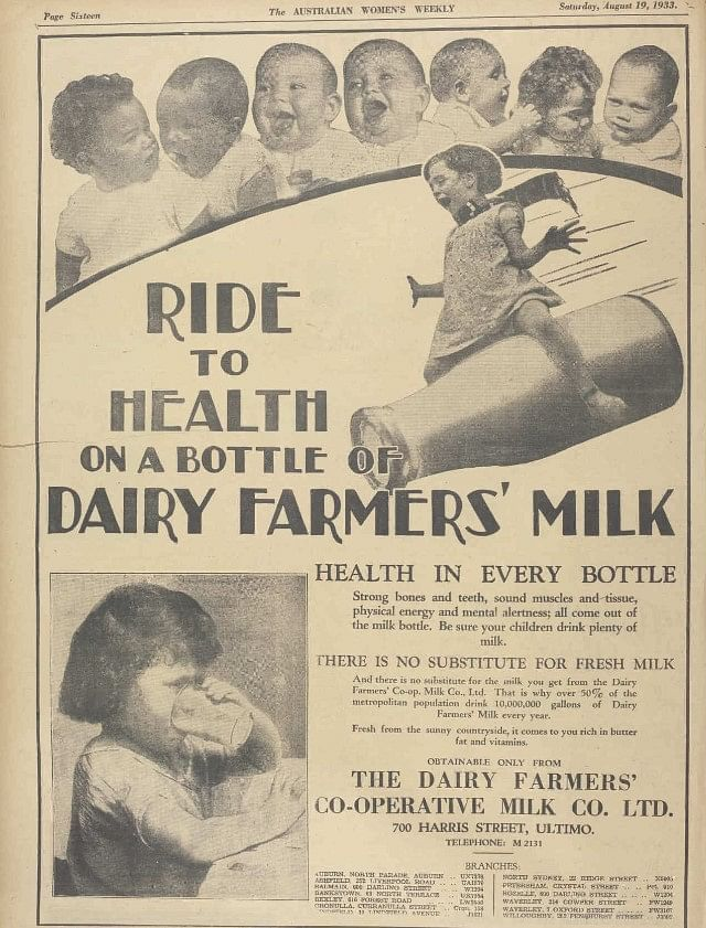 """<div class=""""paragraphs""""><p>An advertisement in the newspaper from1933, highlighting the benefits of milk for growing kids.</p></div>"""