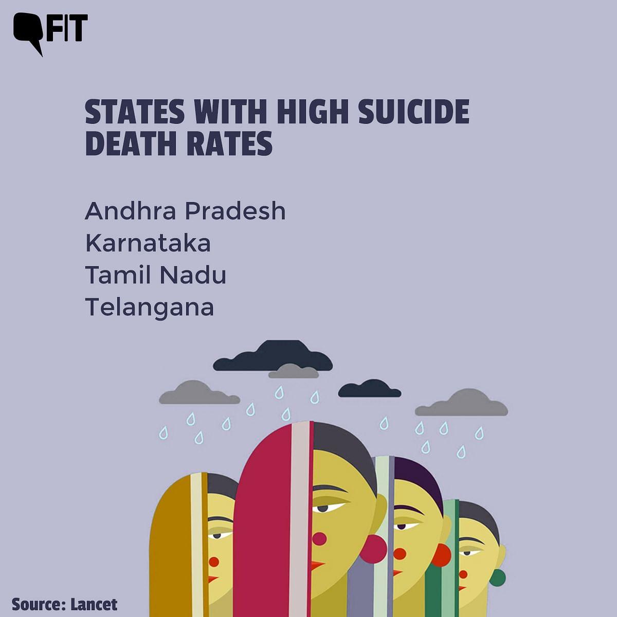 "<div class=""paragraphs""><p>The southern states of Andhra Pradesh, Karnataka, Tamil Nadu, and Telangana had high suicide death rates for both men &amp; women.</p></div>"
