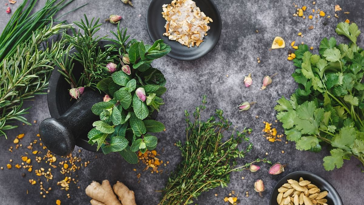 """<div class=""""paragraphs""""><p>Use herbs in your food or teas after consulting an ayurvedic practitioner to lose weight.</p></div>"""