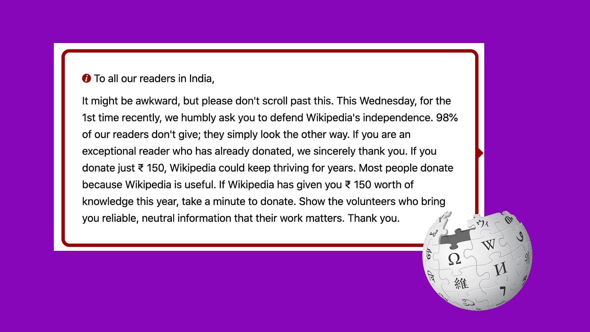 Why Wikipedia Asking For Donations From Indian Users Wikipedia Users