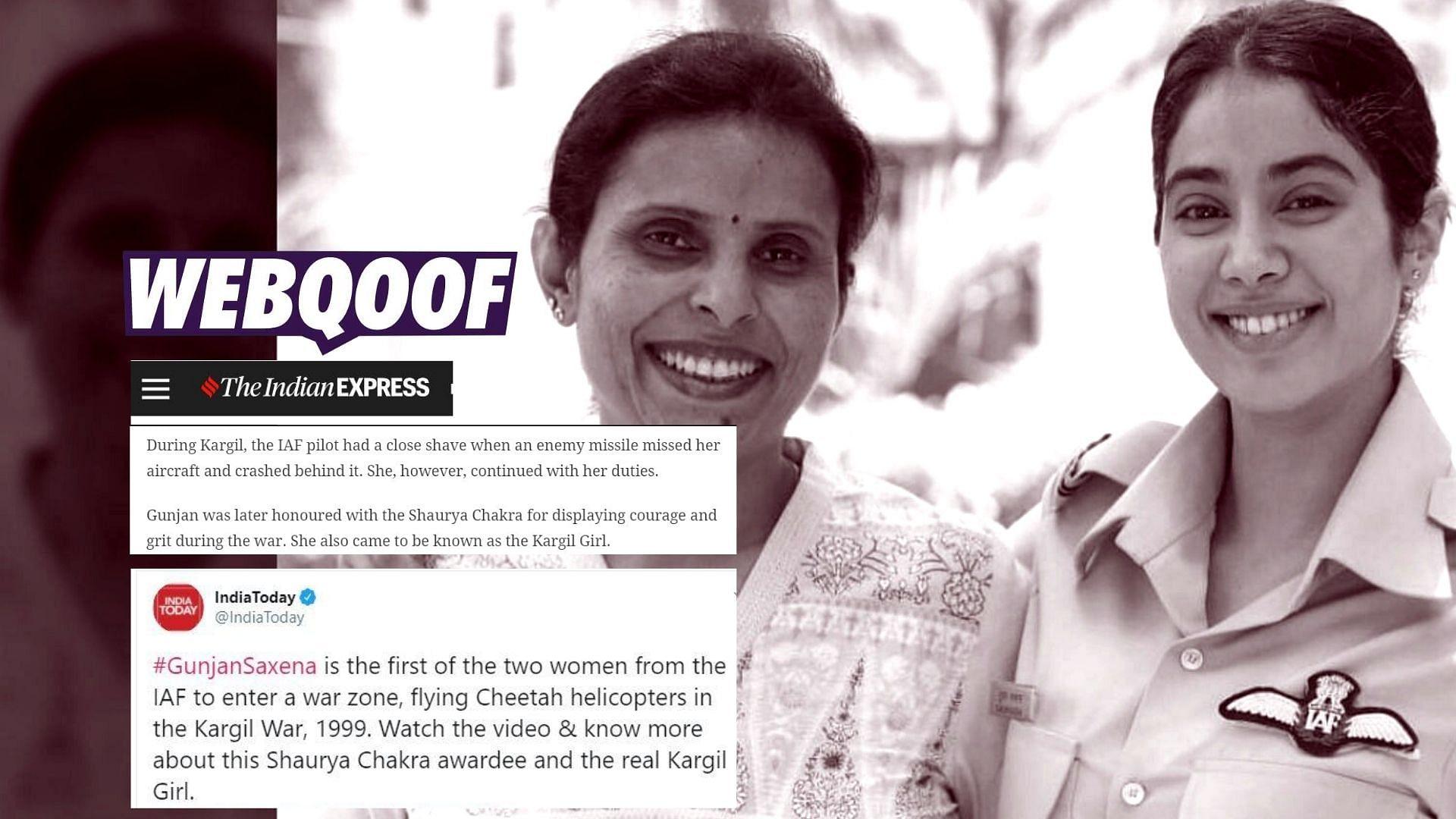 Fact Check Neither Did Gunjan Saxena Claim Nor Is She A Shaurya Chakra Awardee