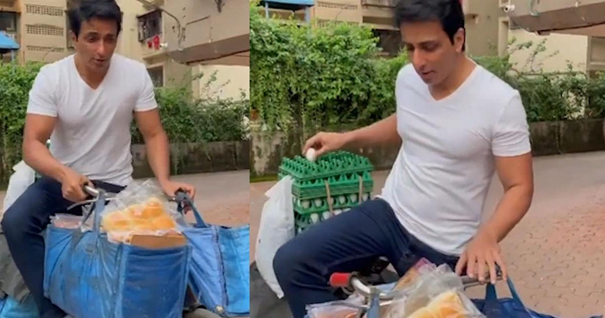 Watch: Sonu Sood Starts 'Sonu Ki Supermarket'; Sells Bread & Eggs